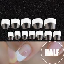 24Pcs/Kit Wit Franse Manicure Half Nail Tips Transparante Vierkante Franse Nagels Diy Nagel Tip
