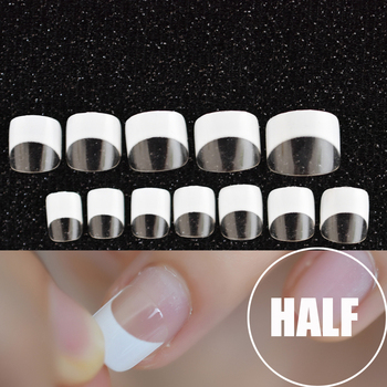 24pcs/kit White French Manicure Half Nail Tips Transparent Square French Nails DIY Nail extension Tip Маникюр