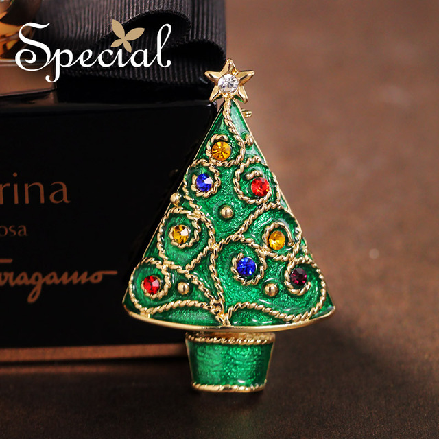 Special nova moda broches pinos árvore de ouro-banhado esmalte broche bouquet lindo festival jóias 2017 presentes para mulheres s1609