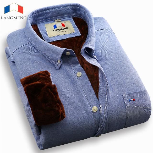 Langmeng venda quente oxford 100% algodão camisa do negócio dos homens de veludo quente regulares camisas ocasionais dos homens de moda slim fit camisas de vestido