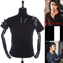 Панк-Рок Уличной Мотоцикла MJ Майкл Джексон Костюм Классический ПЛОХО Черная Футболка и Пояса