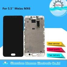 5.5 המקורי נבדק M & סן לmeizu MX6 LCD מסך תצוגה עם מסגרת + מגע מסך פנל Digitizer עבור Meizu MX6 תצוגת מסגרת