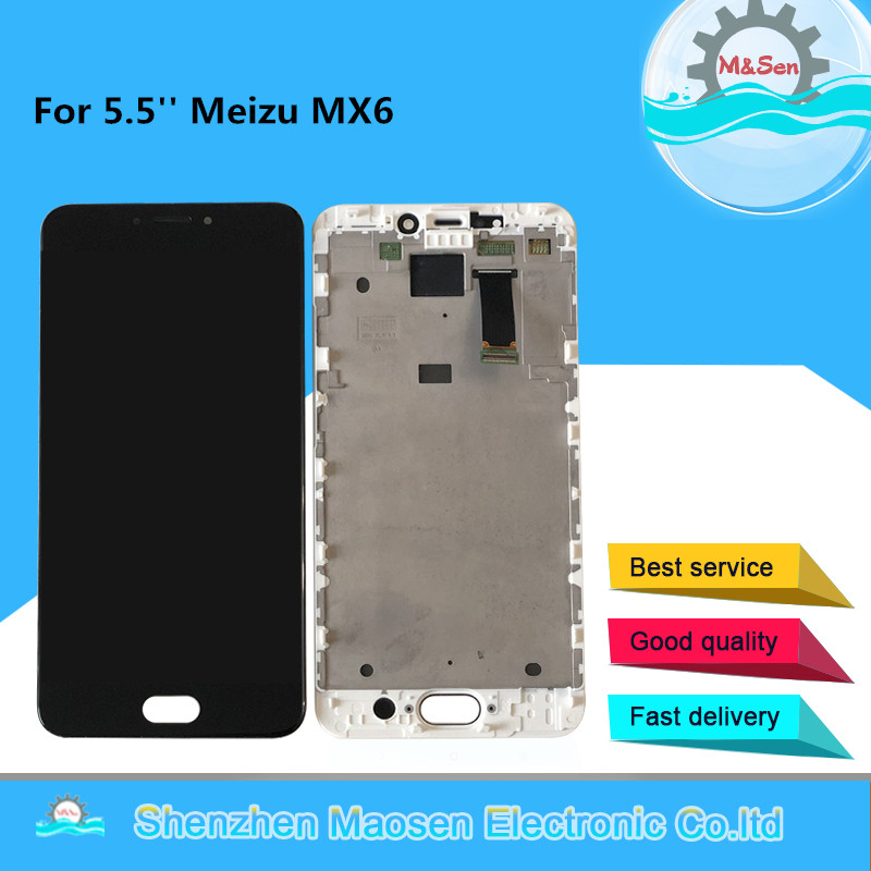 Tested M&Sen For 5.5'' Meizu MX6 LCD Screen Display With Frame+Touch Screen Panel Digitizer For Meizu MX6 Display Frame Assembly