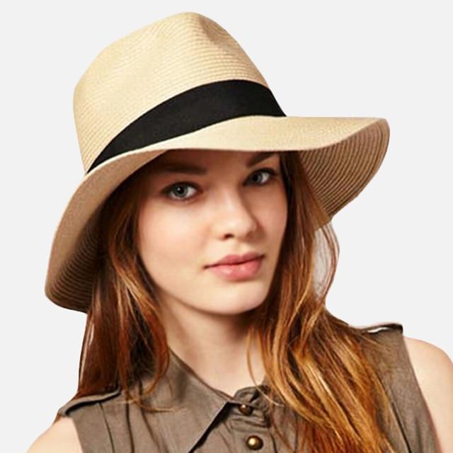 Fashion Summer Women Men Toquilla Straw Sun Hat Elegant Big Wide Brim  Panama Hat Queen Fedora Hat Beach Cap size 7-7 1 4 inch 22c702434b2