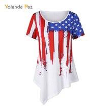 Yolanda Paz 2019 summer Casual Long T Shirt Women white Irregular Hem American Flag Print woman tops tees Plus Size T-Shirt