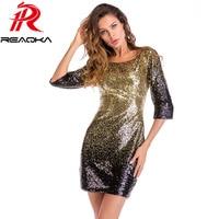 2018 New Summer Elegant Bodycon Black Gold Sequin Dress Women O Neck 3/4 Sleeve Backless Sundress Sexy Mini Evening Party Dress