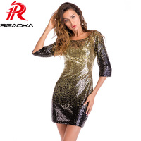 2018 New Summer Elegant Bodycon Black Gold Sequin Dress Women O Neck 3/4 Sleeve Backless Sundress Sexy Mini Evening Party Dress