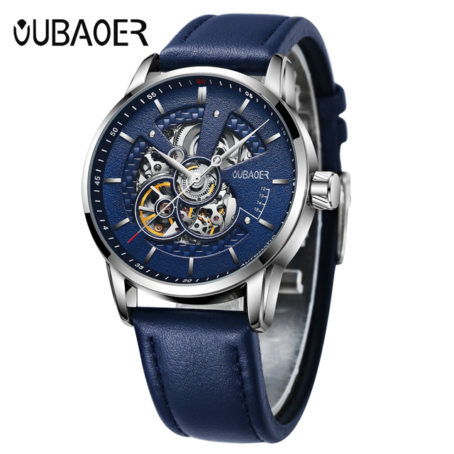 OUBAOER Original Men Watch Top Brand Luxury Automatic Mechanical Watch Leather Military Watches Clock Men Relojes Masculino 2