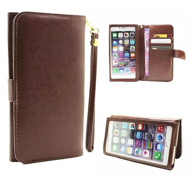 imágenes para Correa de mano de cuero carpeta de la tarjeta de teléfono móvil de pantalla táctil case bolsas bolsa para xiaomi redmi note 4x, mi 5c, para huawei honor 8 pro