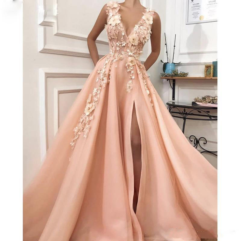 New Arrival Peach Long Prom Dresses 2019 Sexy High Slit V Neck Floor Length Evening Party Gowns Robe de soiree Zipper Back Cheap