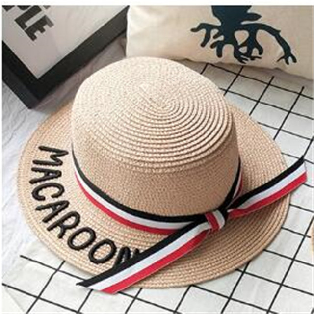 3b3169a05a5 Korean edition new style children s straw hat joker parental letter embroidery  women s flat top hat beach sunshade hat.