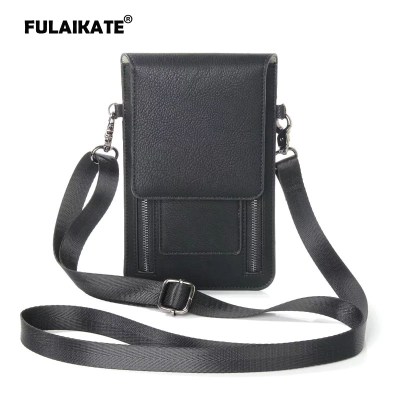FULAIKATE Lichia Bolsa de Ombro Universal para iPhone6s 7 Plus Card Pocket Case para Samsung Galaxy S8Plus MEGA 6.3 Note5 Pouch