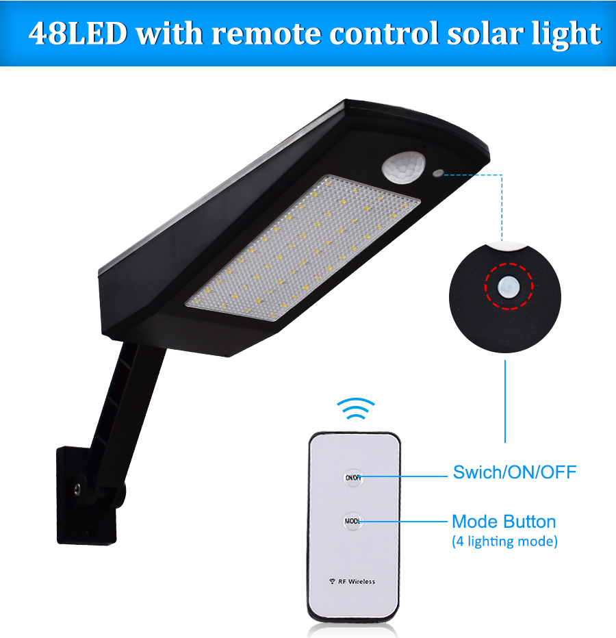 US $25 75 47% OFF|Outdoor Solar Lights 48 Leds 900lm Motion Sensor  Commercial led Wall Light Lamp For Pathway Home Walk Way Garden  Waterproof-in Solar