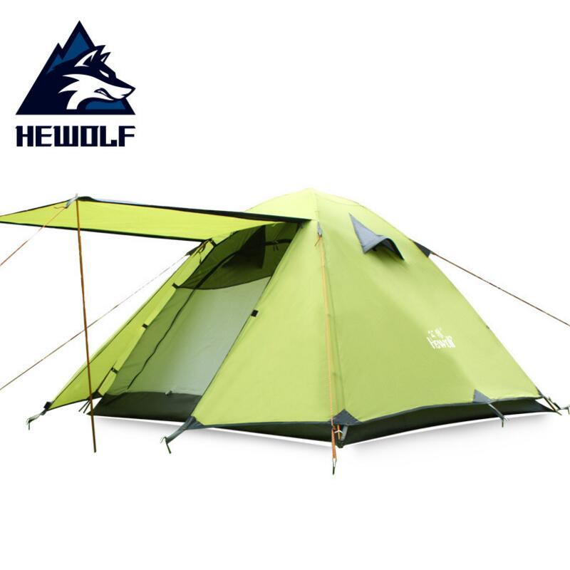 Hewolf Windproof Waterproof Tent tourist 3 Person Double Layer Aluminum Alloy Four Season Outdoor Hiking Camping Tent Awning