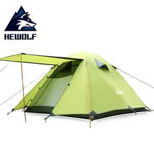 Hewolf Windproof Waterproof Tent tourist 3 Person Double Layer Aluminum Alloy Four Season Outdoor Hiking Camping Tent Awning цена 2017