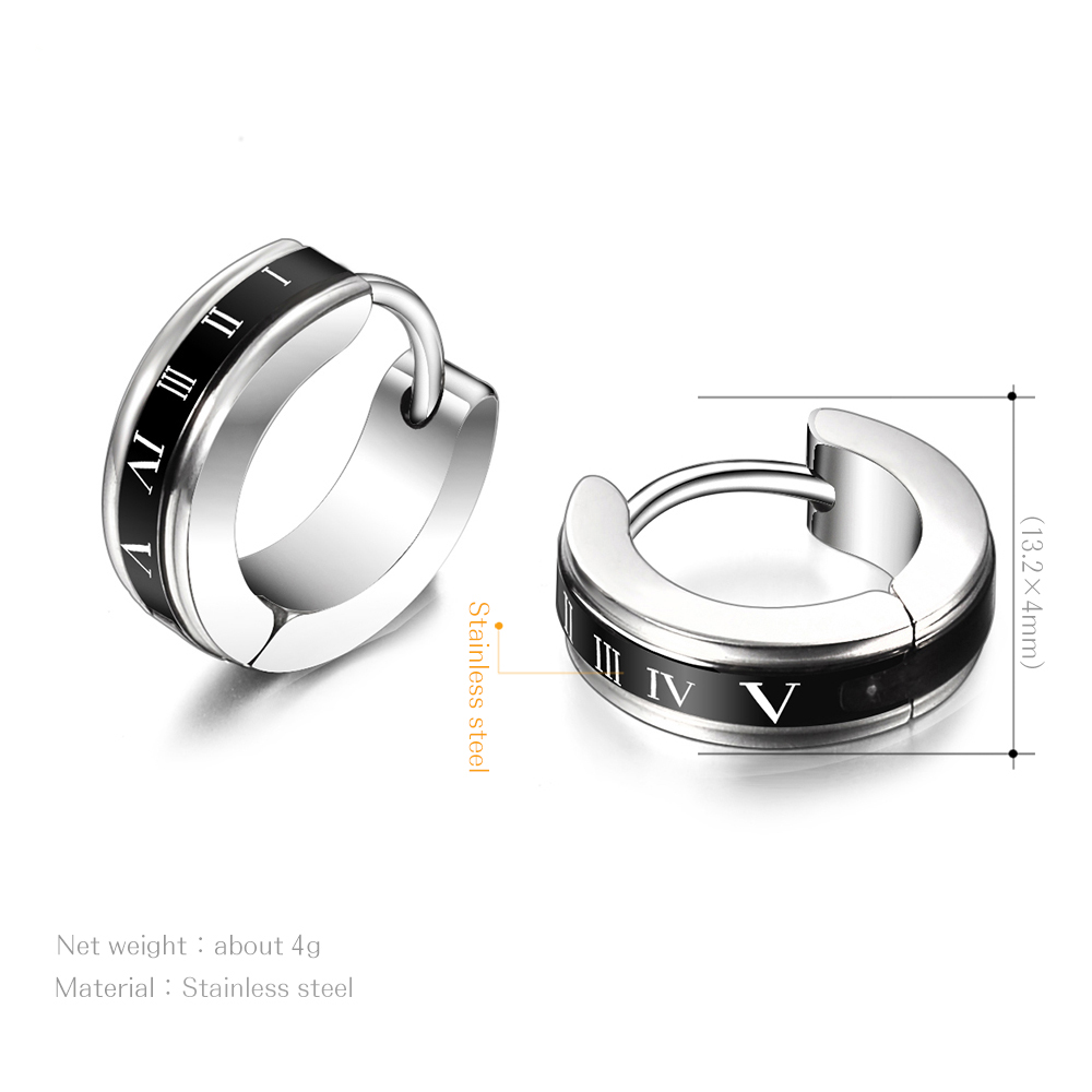 Cool Stainless Steel Round Earrings for Men