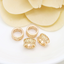 6PCS 5*9MM 24K Champagne Gold Color Plated Brass Hollow Pattern Large Hole Beads Bracelet High Quality Jewelry Accessories