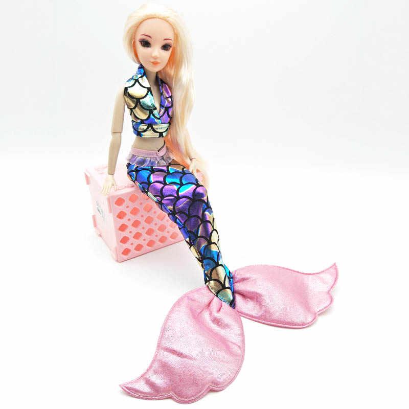 Ropa de sirena colorida rosa para Barbie, sujetador y falda de cola de pez, vestido para 1/6 BJD, disfraz de muñeca, accesorios para muñecas