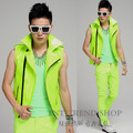 Fashion Male Neon Green Super hot Motorcycle Vest men's singer clothing costume