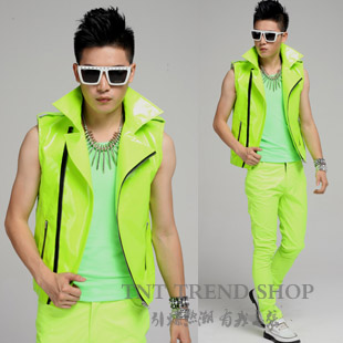 Image Gallery neon outfits for men #0: Fashion Male font b Neon b font Green Super hot Motorcycle Vest font b men s