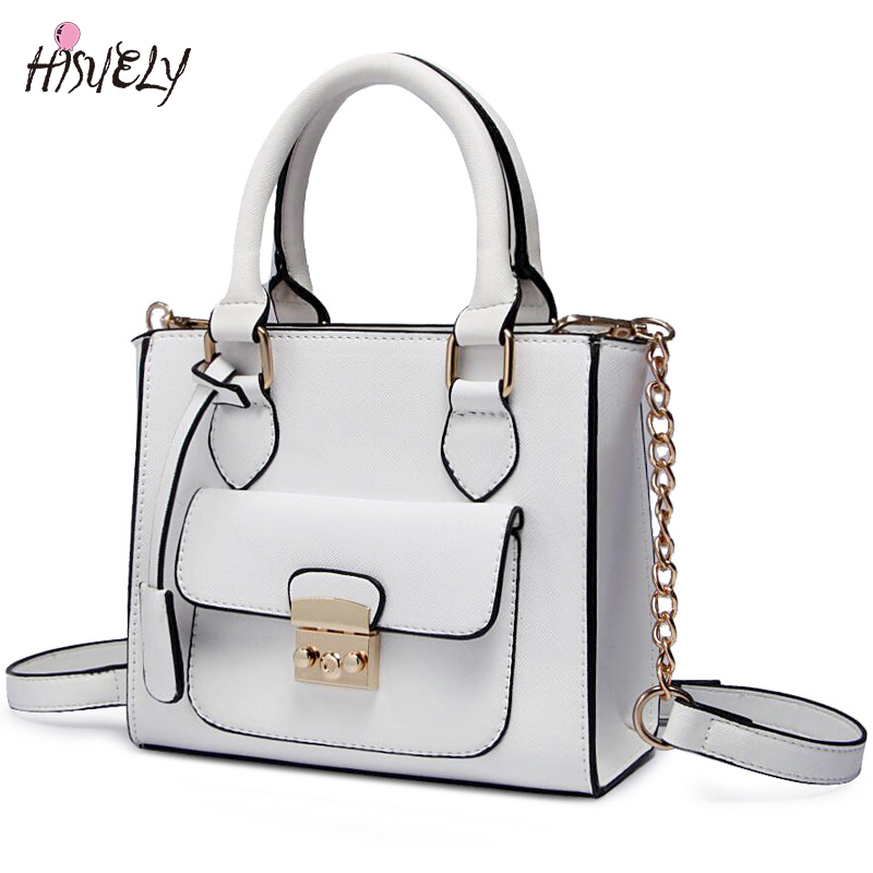 HISUELY Hot Sale Candy Color Women PU Leather Bow Handbags Women Shoulder Bags Fashion Bag Female Lady Pink Crossbody Bag