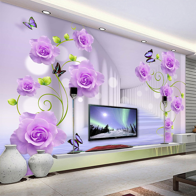 Custom Photo Wallpaper Modern Purple Rose Flowers 3D Stereoscopic Living Room TV Sofa Background Wall Home Decor 3D Wall Murals