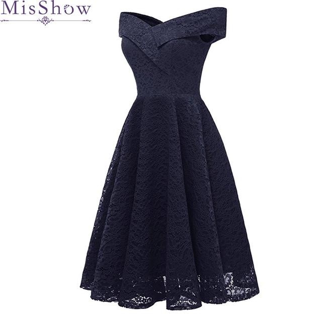 wholesale dealer f96e4 761e1 Frauen Navy Blue Kurze Abendkleider 2019 Günstige Graduation Prom Kleider  Spitze Party Homecoming kleid corto robe de soiree