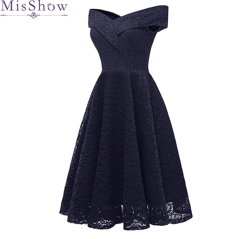 Women Navy Blue Short   Evening     Dresses   2019 Cheap Graduation Prom   Dresses   Lace Party Gowns Homecoming   dress   corto robe de soiree