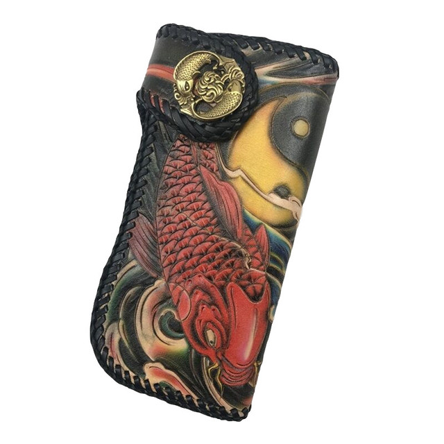 high-valued 100% hand engraved italian cow leather double carp fish  handwork eight diagrams