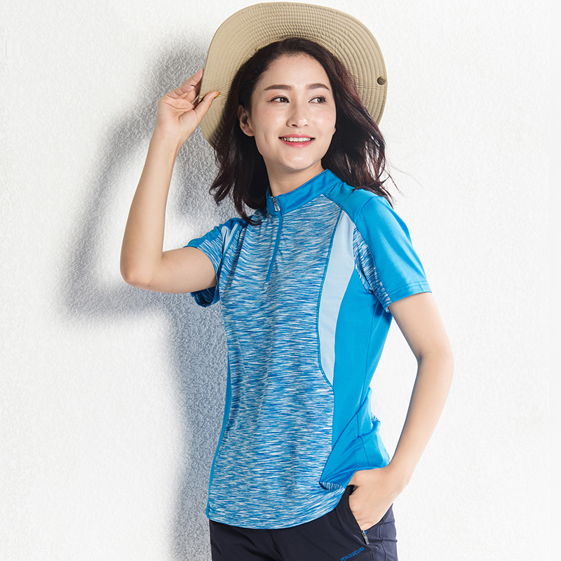 Lisyee 2018 New Couple Breathable Quick drying Short sleeved Pop Zipper Stand Collar Patchwork Color Sports Outdoors T-shirt english collar denim shirt with patchwork design