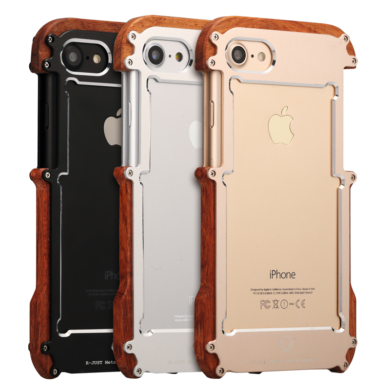 i6 i5 R-just shockproof phone case wooden aluminum case cover for iphone 6 Plus
