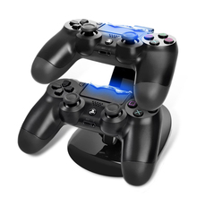 ALLOYSEED Dual USB Gamepad Controller Charger Dock Game Controller Power Supply Charging Stand Base for Sony Playstation 4 PS4