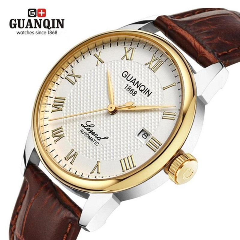2016 Original GUANQIN Men Mechanical Watch Waterproof Luxury Men Watch Business Men Leather Watch Clock Relogio Masculino Reloj 2016 luxury men watch original guanqin men mechanical watch with date waterproof dress men watches clock relogio masculino reloj