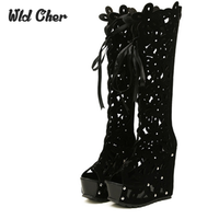Roman Open Toe Hollow Summer Boots Wedges High Heeled Platform Boots Gladiator Sandals Women Knee High