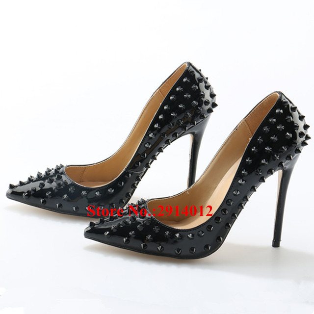 7e43374ddc5 Black Patent Leather Rivets Studded Pigalle Spiked Pumps Pointed Toe  Stiletto 12CM High Heels Women Party Wedding Shoes Woman