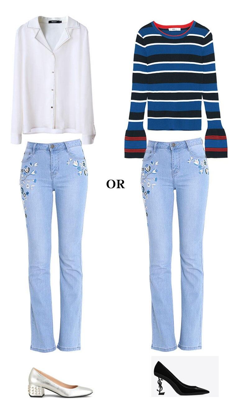 KSTUN Jeans for Women Boot Cut Bell-bottom Denim Flares Pants Fashion Women's Jeans Slim Embroidered High quality light blue 34 11