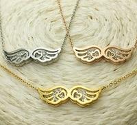 Gorąca Sprzedaż Piękne Angel Wings Naszyjnik Dla Kobiet Żółtego Złota/Rose Złoty/Srebrny Kolor Biżuterii
