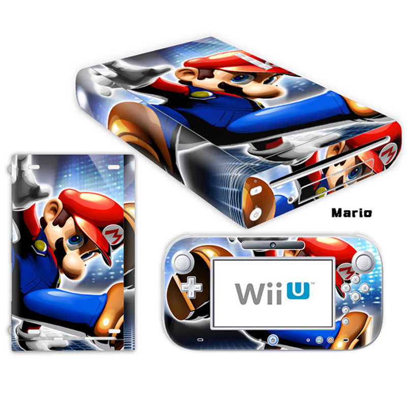Марио дизайн виниловые наклейки на кожу для консоли wii U крышка с 2 пультами контроллер шкуры для ноd наклейка игровые аксессуары