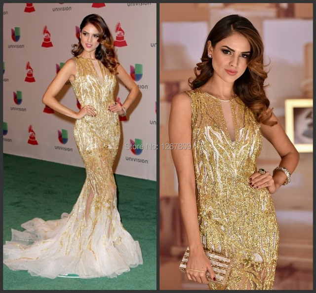 2019 New Custom Made Sexy full gold Beading Celebrity Dresses Crystal Mermaid Wome Evening Gown