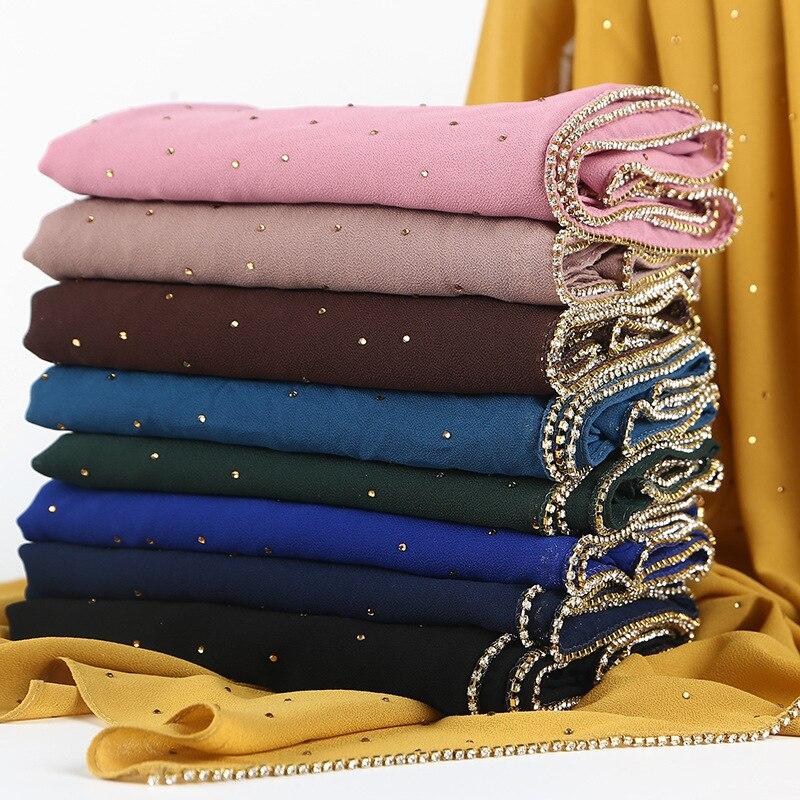 Solid hijab   scarf   gold chain muslim ladies   scarves   plain bubble chiffon crystal   scarf     wraps   shawls headband long   scarves