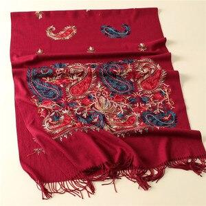 Image 2 - 2020 Luxe Merk Vrouwen Sjaal Hoge Kwaliteit Borduurwerk Winter Kasjmier Sjaals Lady Sjaals En Wraps Vrouwelijke Pashmina Echarpe