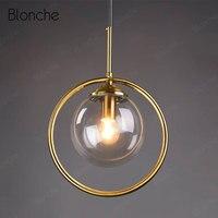 Industrial Pendant Light Glass Ball Hanging Lamp Kitchen Dining Room Nordic Lamp Modern Gold Loft Decor Hanging Lights Fixtures