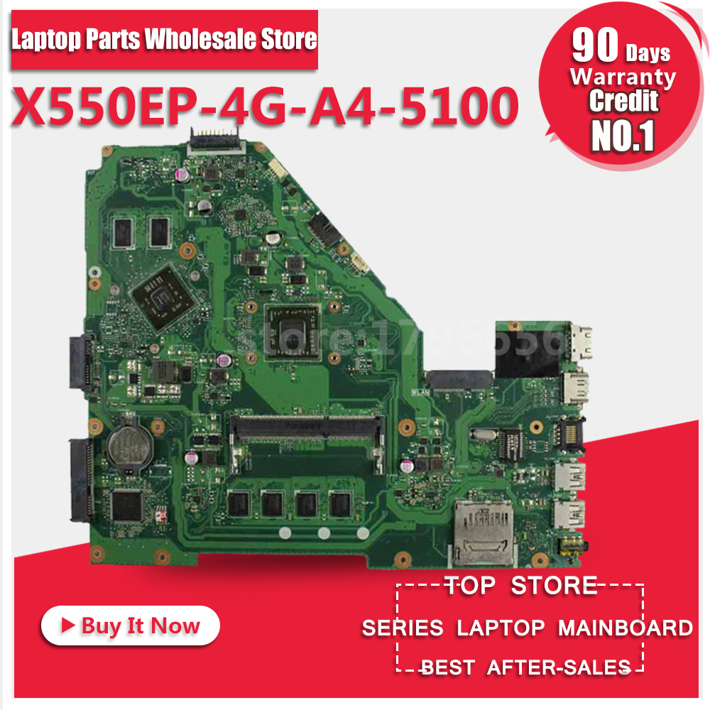 For ASUS F552E F552EP X552E A552E X550E X550EP X552EP 4G-A4-5100 Laptop Motherboard System Board Main Board Card Logic Board for asus motherboard f552e f552ep x552e a552e x550e x552ep x550ep x552ep rev2 0 mainboard with processor 4g memory fully test