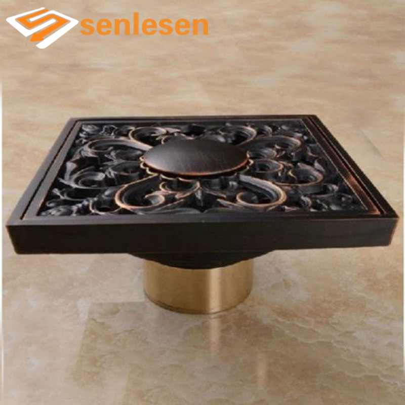 Free Shipping Oil Rubbed Bronze 4 Square Floor Waste Grates Bathroom Shower Drain free shipping bathroom shower floor drain oil rubbed bronze grate waste drain lucky finishes