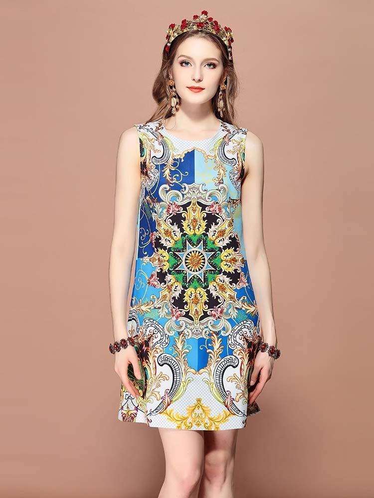 Baogarret Fashion Runway Summer Dress Women 39 s Sleeveless Gorgeous Print Crystal Beading Mini Elegant Vintage Dress in Dresses from Women 39 s Clothing
