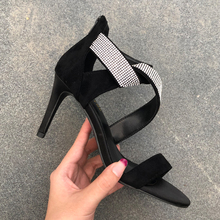 Free shipping fashion women sandals Casual Designer Black suede strass strappy Ankle-Wrap high heels sandals shoes