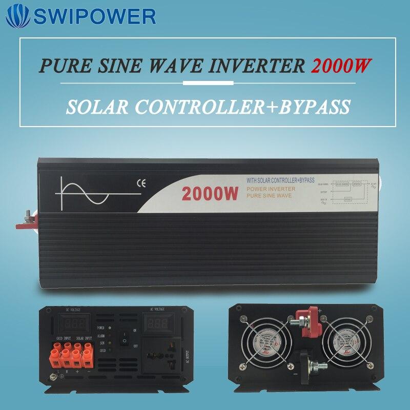 Onde sinusoïdale pure énergie solaire onduleur 2000 w 12 V/24 V DC à AC 120 V/220 V avec régulateur solaire avec bypass