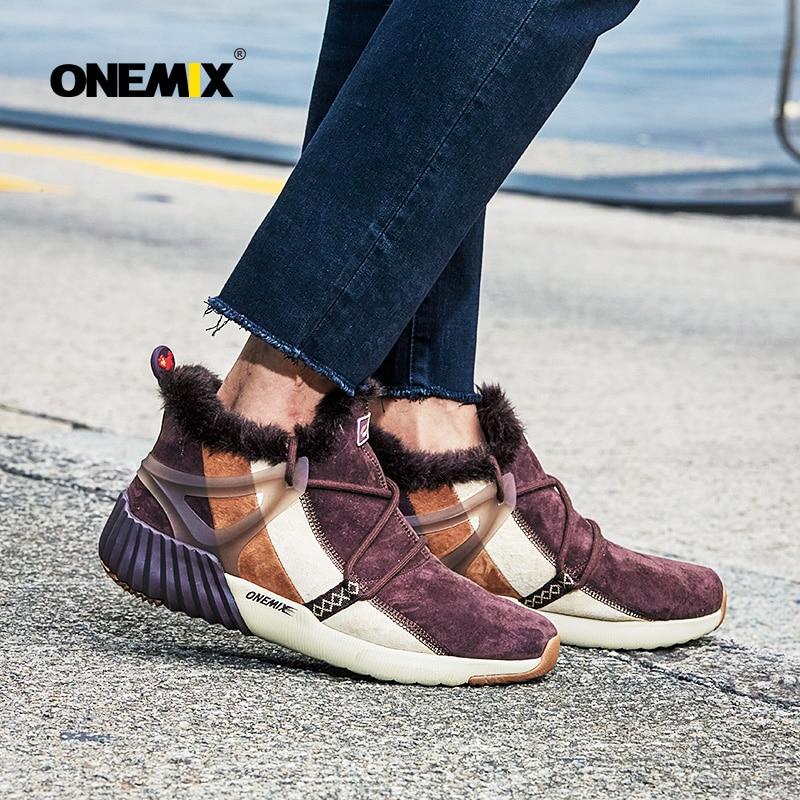Купить с кэшбэком ONEMIX Winter Man Boots Warm Wool Sneakers Sport Shoes Outdoor Comfortable Running Shoes for Men Waterproof Winter Walking Shoes