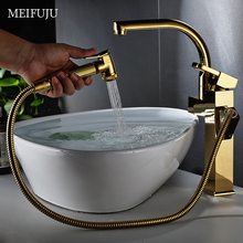 Luxury High Bathroom Faucet  Basin Chrome Kitchen Faucet Pull Out Sprayer Gold Kitchen Faucets Single Handle Mixer Tap Sink цена