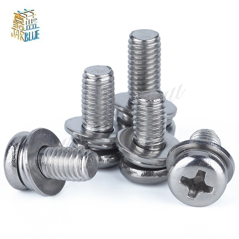 50 pcs Metric thread M2 M2.5 M3 M4 304 stainless steel Phillips Pan Head Three Combination Screw Three sem screws with washer 50pcs m2 m2 5 m3 m4 iso7045 din7985 gb818 304 stainless steel cross recessed pan head screws phillips screws hw002